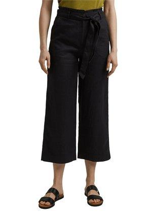 PANT WIDE LEG - Spodnie materiałowe - black