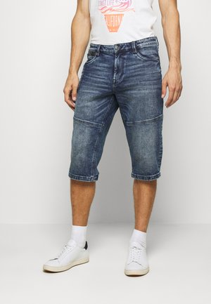MORRIS OVERKNEE - Denim shorts - dark stone wash denim