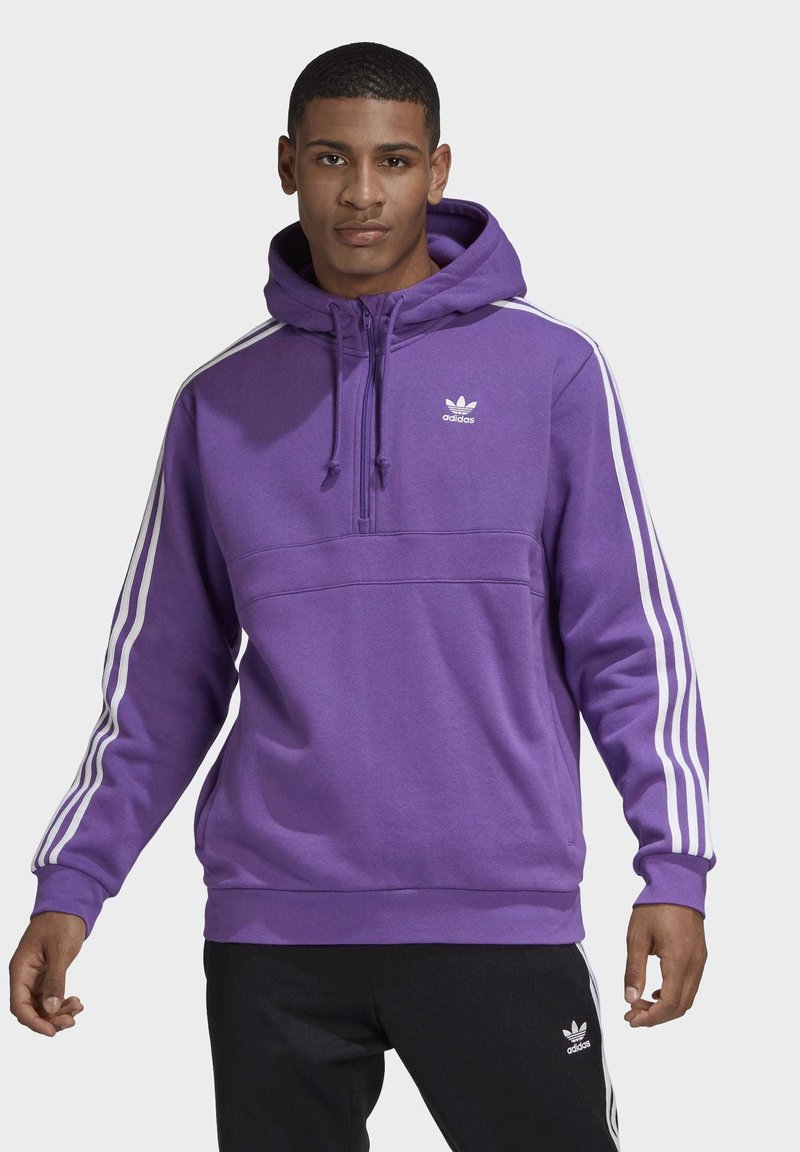 adidas Originals - STRIPES HOODIE - Mikina skapucí - purple