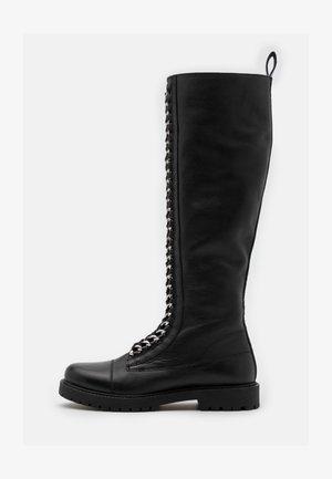 ROCK LONG  - Šněrovací vysoké boty - black