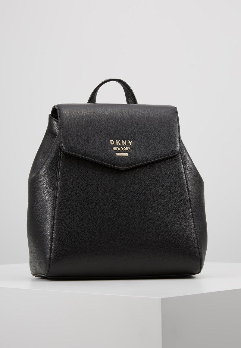 DKNY - WHITNEY FLAP BACKPACK - Plecak - black gold