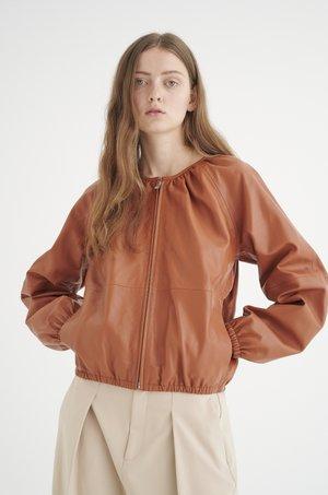 Leather jacket - tabac