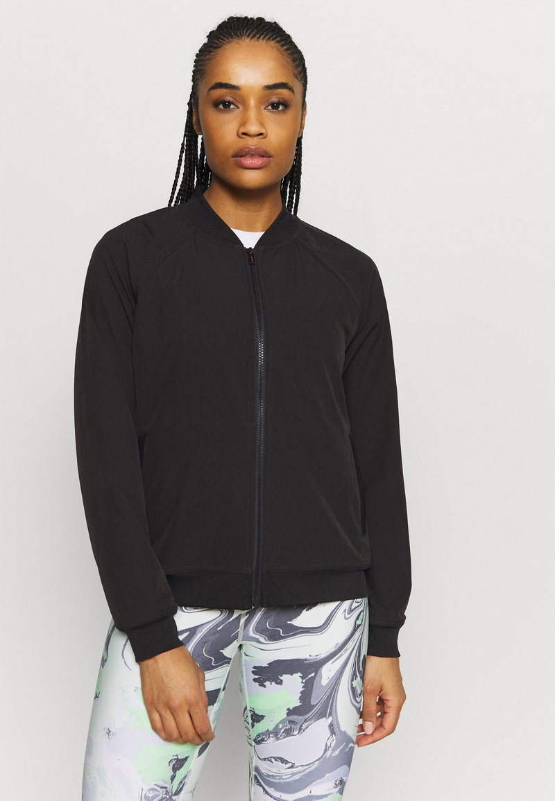 DKNY - STRIPED LOGO ZIP UP BOMBER - Training jacket - black