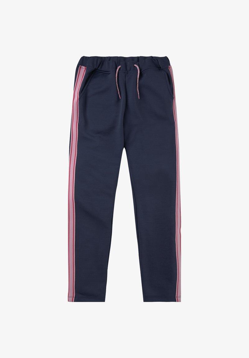 TOM TAILOR - MIT GESTREIFTEM TAPE - Trousers - peacoat|blue