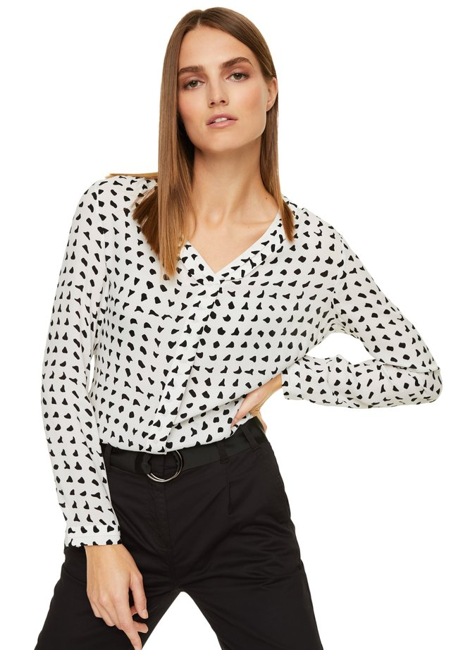MIT V-NECK - Blouse - black & white