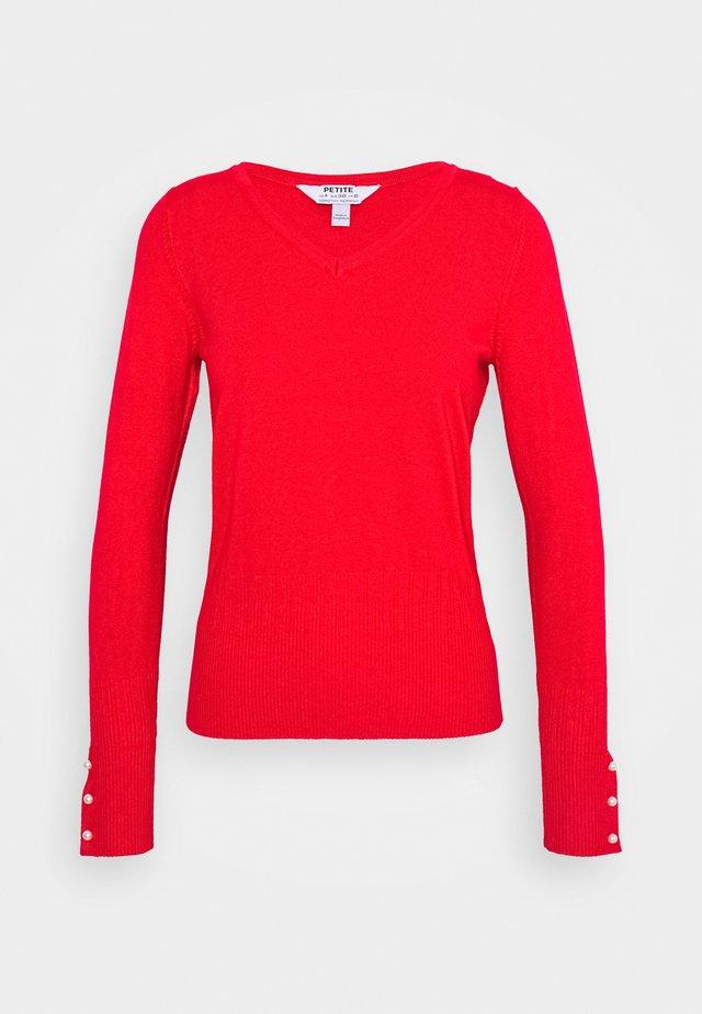 CUFF V NECK JUMPER - Stickad tröja - red