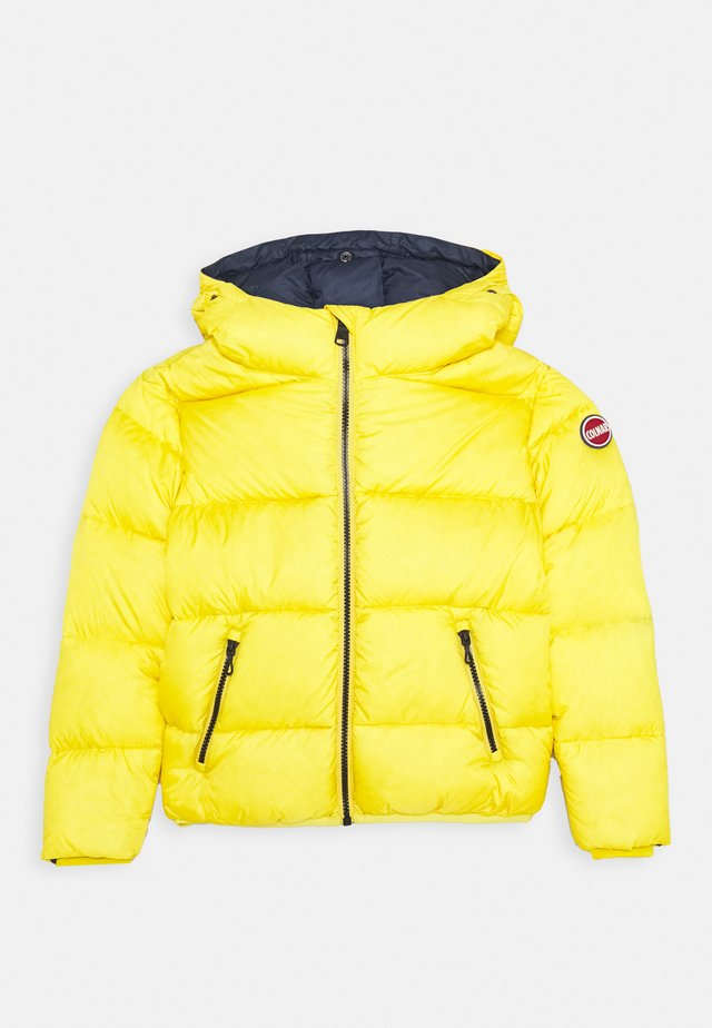 JUNIOR HOODED UNISEX  - Down jacket - bee/navy blue