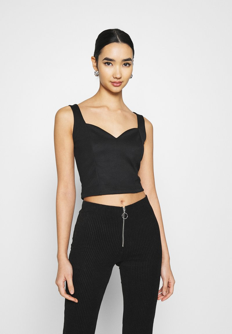 Even&Odd - SWEETHEART NECKLINE SLEEVELESS CROP - Toppi - black