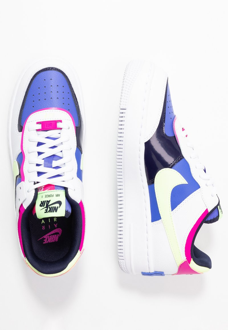 Nike Sportswear Air Force 1 Shadow Trainers White Barely Volt Sapphire Fire Pink Blackened Blue White Zalando Co Uk Two years removed from its 40th anniversary, the nike air force 1 arguably commands more respect today than ever before. air force 1 shadow trainers white barely volt sapphire fire pink blackened blue
