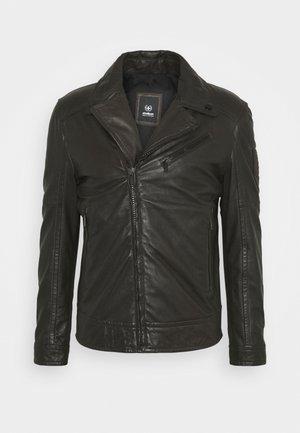 PARKS - Leather jacket - dark brown