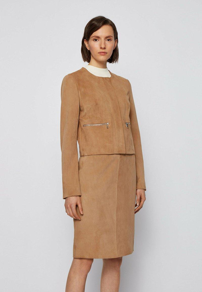 BOSS - Leather jacket - beige