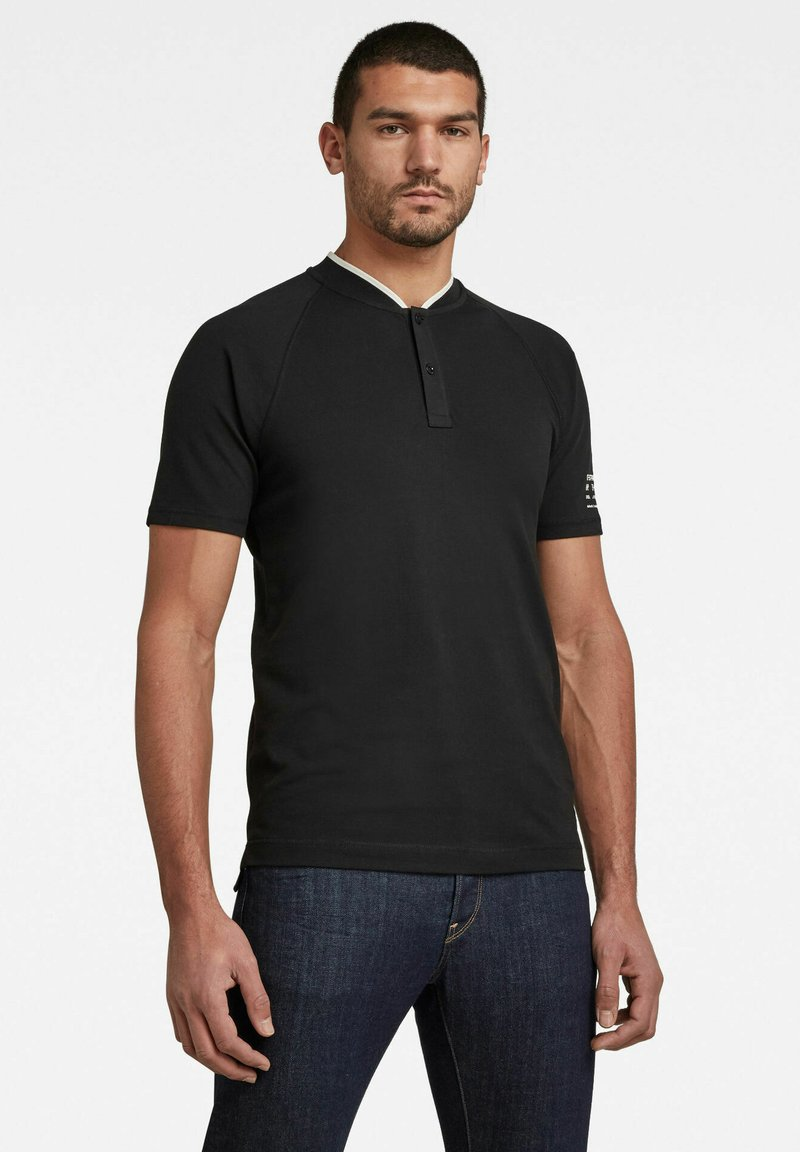 G-Star - BASEBALL COLLAR GRAPHIC SLIM POLO - Print T-shirt - dk black