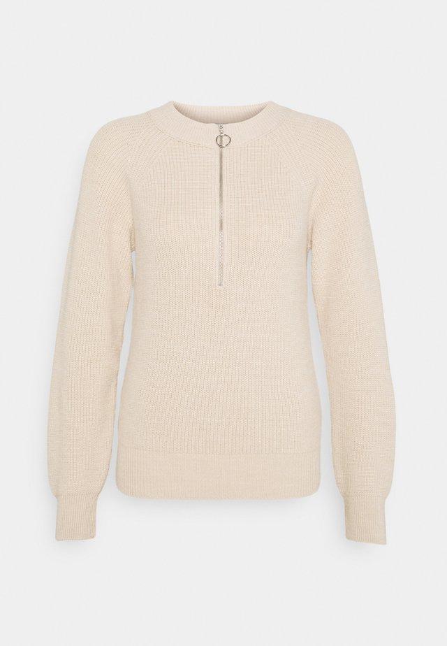 ZIPPER FRONT - Stickad tröja - beige
