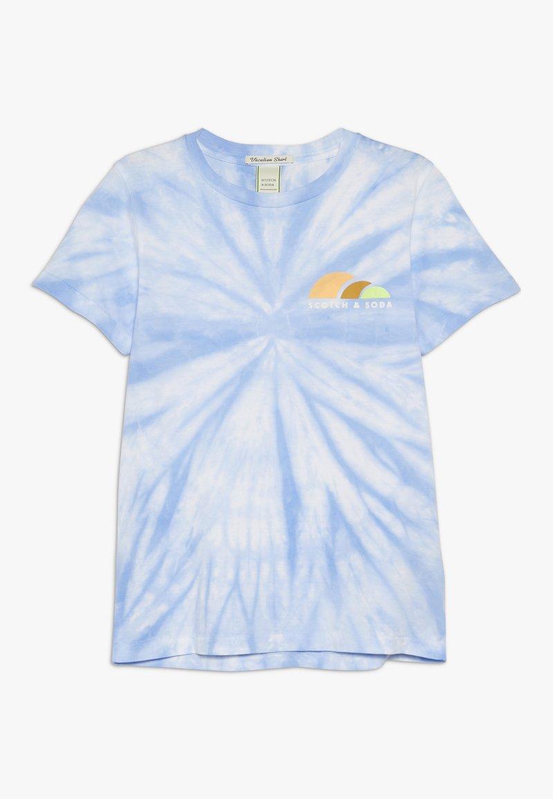 Scotch & Soda - TIE DYE AND ARTWORKS - Print T-shirt - sky blue