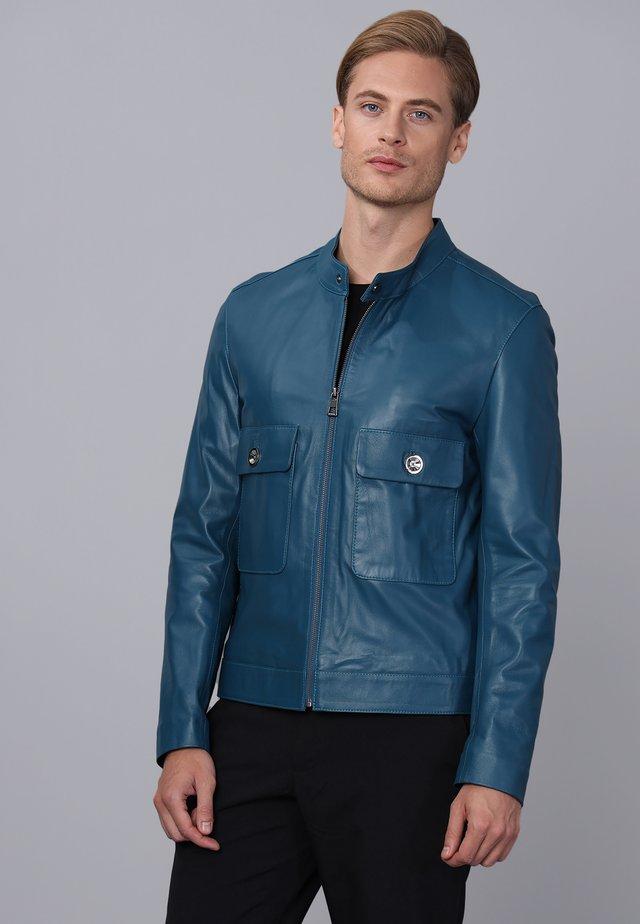 Leren jas - oil blue