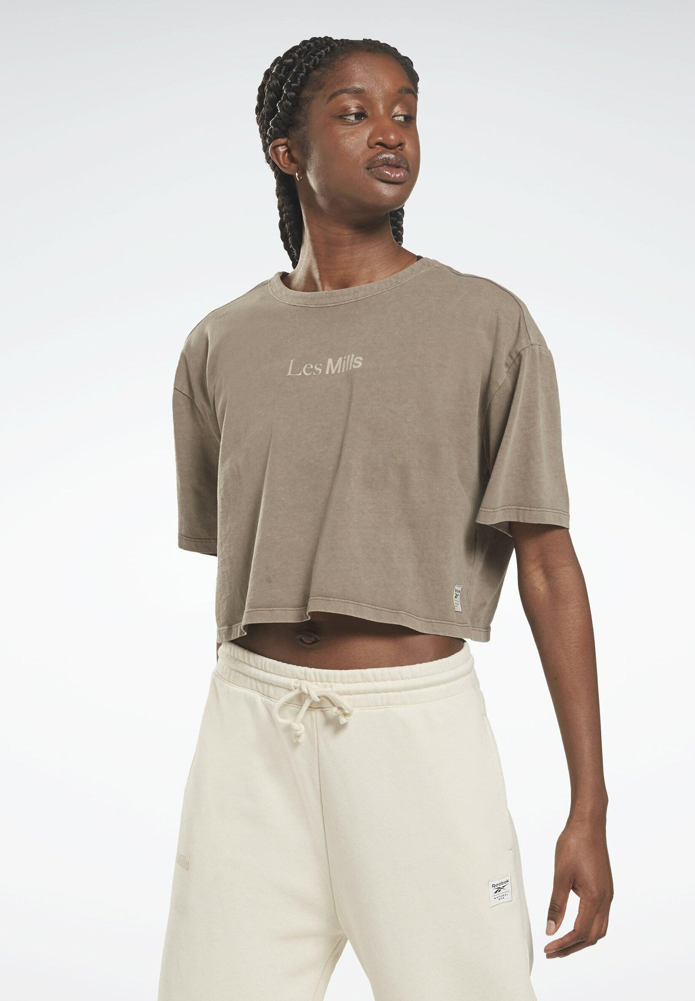 Femme LES MILLS NATURAL DYE V CROPPED - T-shirt imprimé