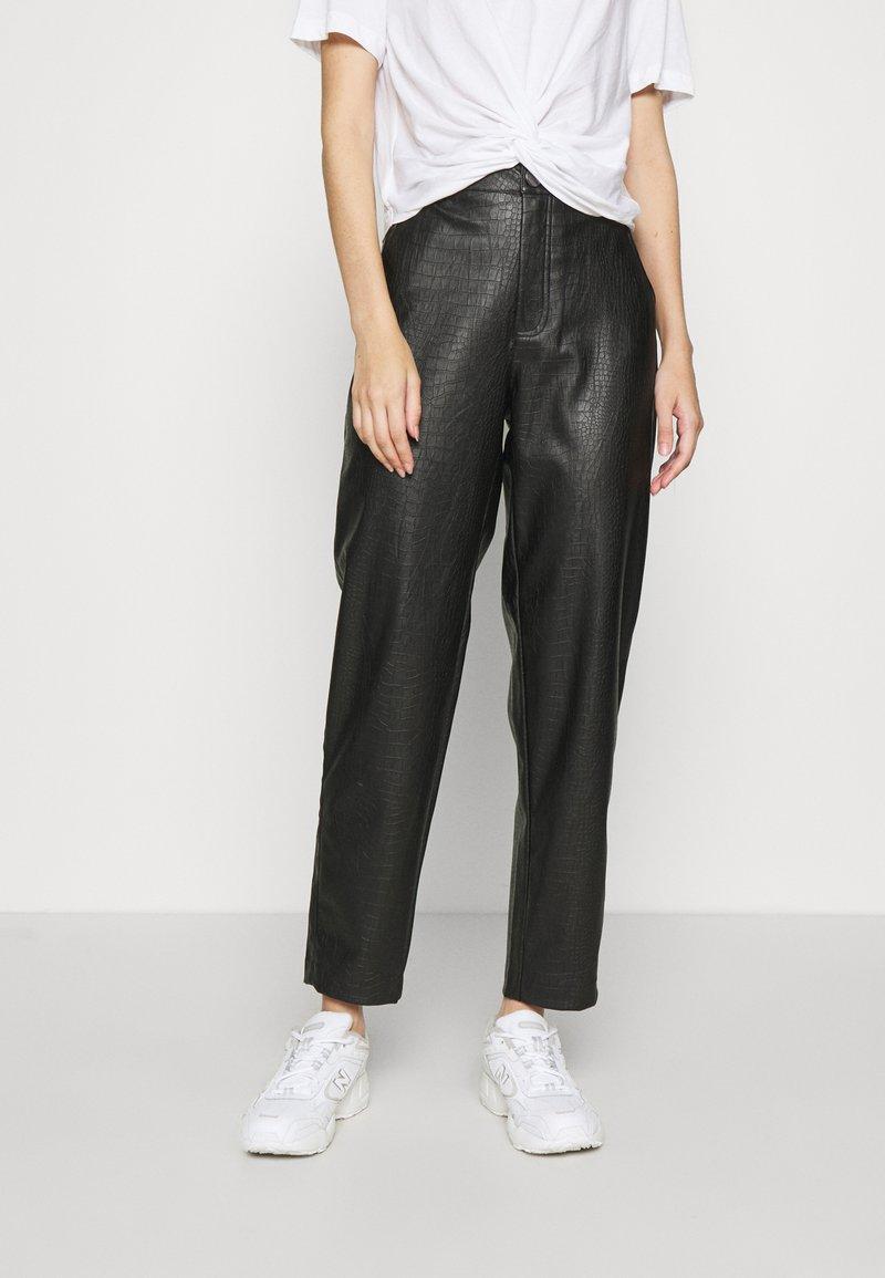 Vila - VIPIPPA COATED DETAIL PANTS - Trousers - black