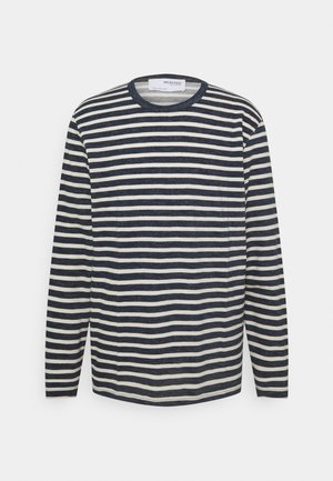 SLHRELAXMAGNE STRIPE O NECK TEE - Långärmad tröja - dark blue melange