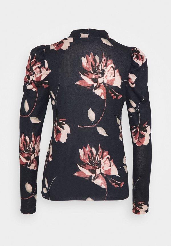 ONLY ONLELCOS HIGH NECK - Bluzka z długim rękawem - night sky W kwiatki Odzież Damska PFRS BV 1