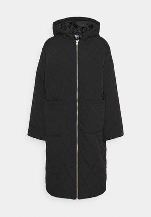 QUILTED LONGLINE COAT - Winter coat - black