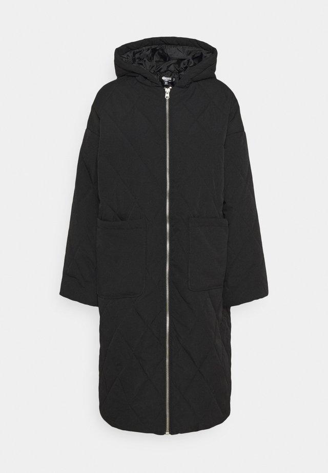 QUILTED LONGLINE COAT - Vinterfrakker - black