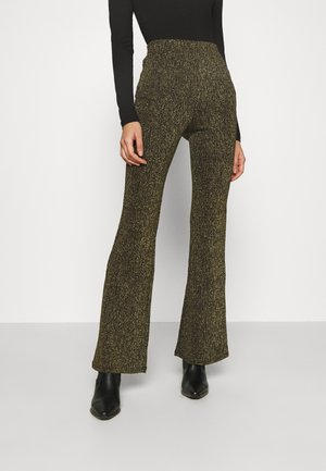 TORA TROUSERS - Pantalon classique - black gold lurex