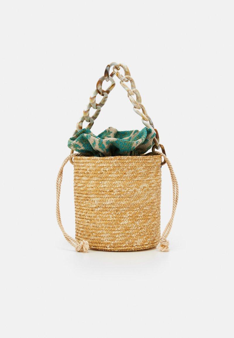 Hermina Athens - BASKET BROCADE MARBLE CHAIN - Handtasche - natural/green
