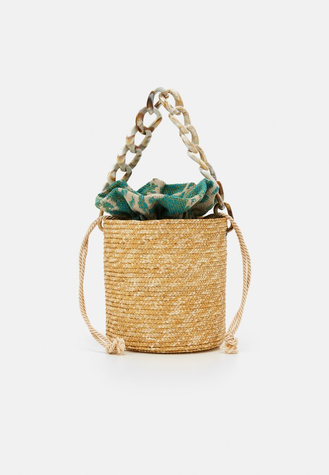 BASKET BROCADE MARBLE CHAIN - Handbag - natural/green