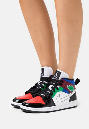 AIR JORDAN 1 MID - High-top trainers - black/white/university red/hyper royal/dark beetroot/lucky green