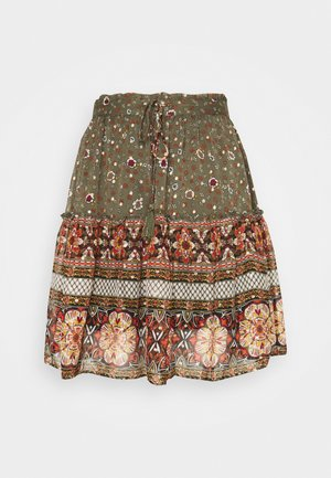 VMBOHEMEA SHORT SKIRT - Mini skirt - ivy green/bohemea