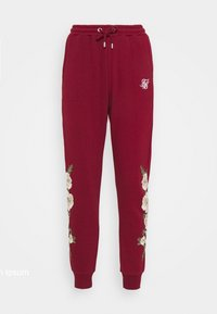 SIKSILK - FLORAL EMBROIDERED JOGGERS - Tracksuit bottoms - burgundy - 4