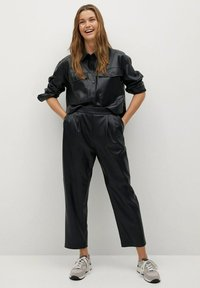 Mango - SIENA - Leather trousers - zwart - 1