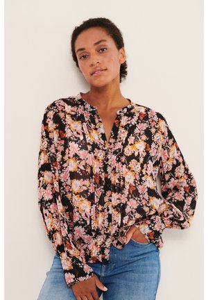 Overhemdblouse - winter rose print, black