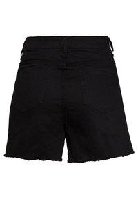 Lost Ink Plus - BUTTON FRONT MOM - Jeans Short / cowboy shorts - black - 1