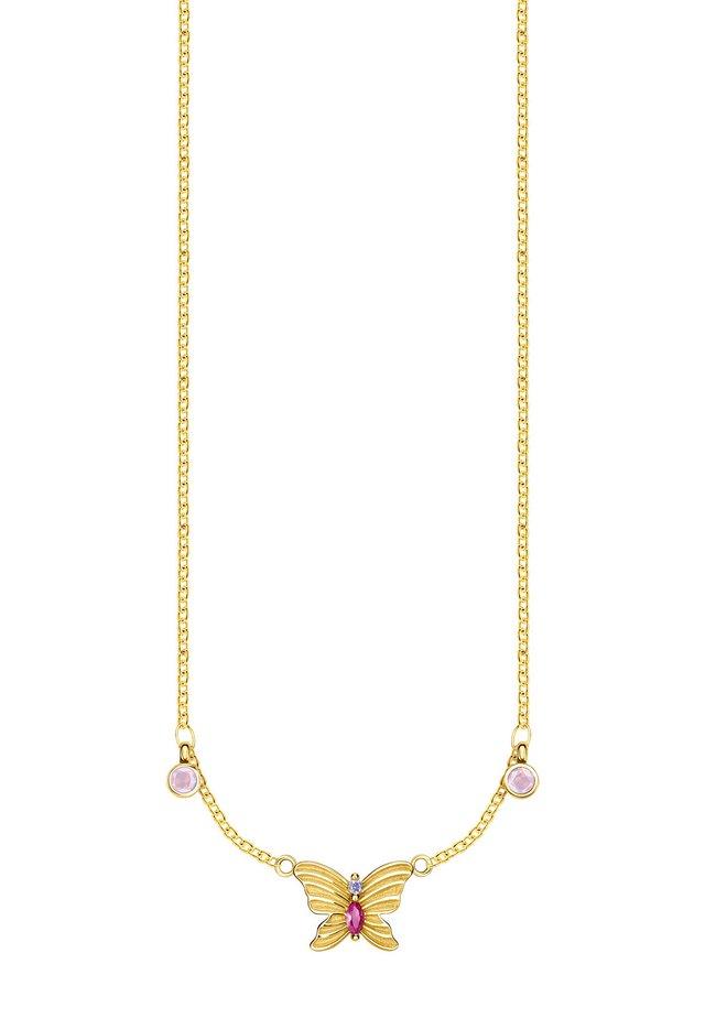 KETTE 925 STERLINGSILBER, 750 GELBGOLD VERGOLDUNG - Collier - violett, pink, gelbgoldfarben, rot