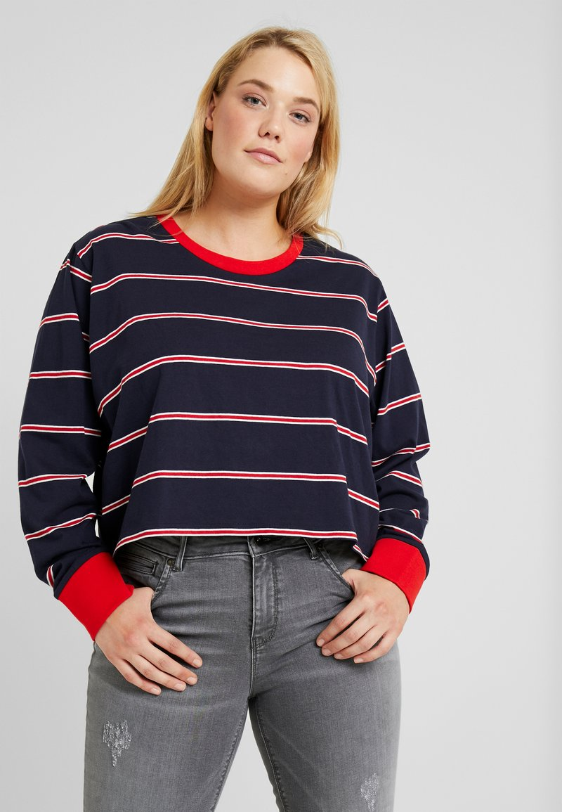 Urban Classics Curvy - LADIES SHORT DYED SKATE STRIPE - Long sleeved top - midnightnavy/red