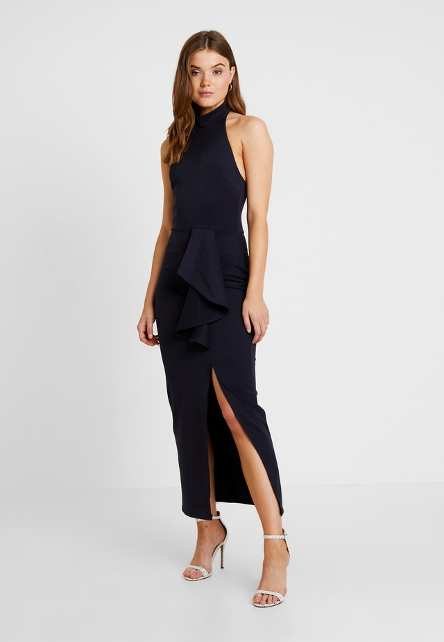 HALTER NECK WITH SPLIT - Robe longue - navy