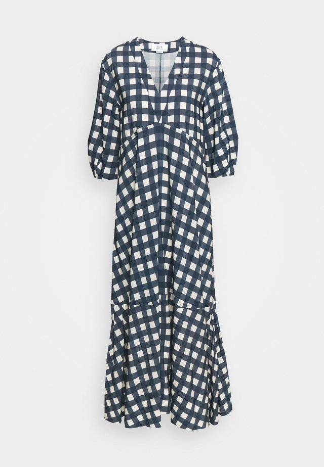 BELL SLEEVE GINGHAM CHECK DRESS - Maxi-jurk - midnight blue/white sand