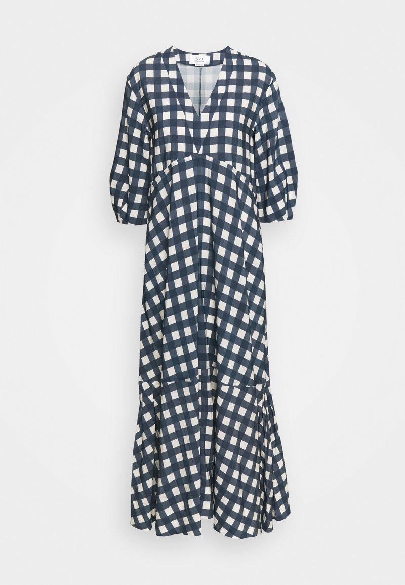 Victoria Victoria Beckham - BELL SLEEVE GINGHAM CHECK DRESS - Maxi dress - midnight blue/white sand