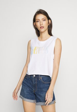 GRAPHIC CROP TANK - Topper -  serif tank white