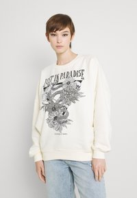 Colourful Rebel - PARADISE SNAKE DROPPED SHOULDER WOMEN - Sweatshirt - offwhite - 0