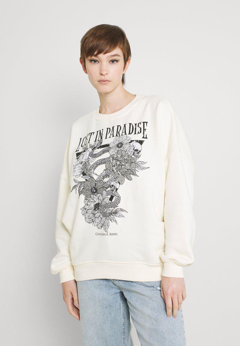 Colourful Rebel - PARADISE SNAKE DROPPED SHOULDER WOMEN - Sweatshirt - offwhite