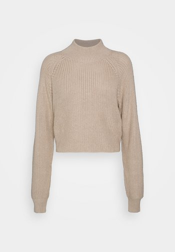 CROPPED PERKIN NECK - Pullover - dark tan melange