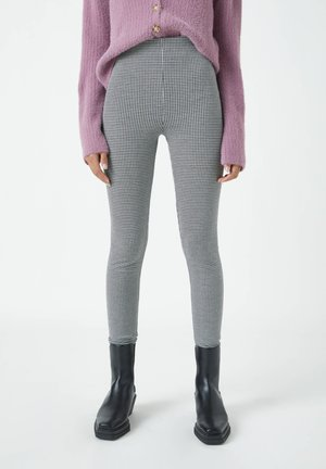 MIT HAHNENTRITTMUSTER - Leggings - Trousers - dark grey