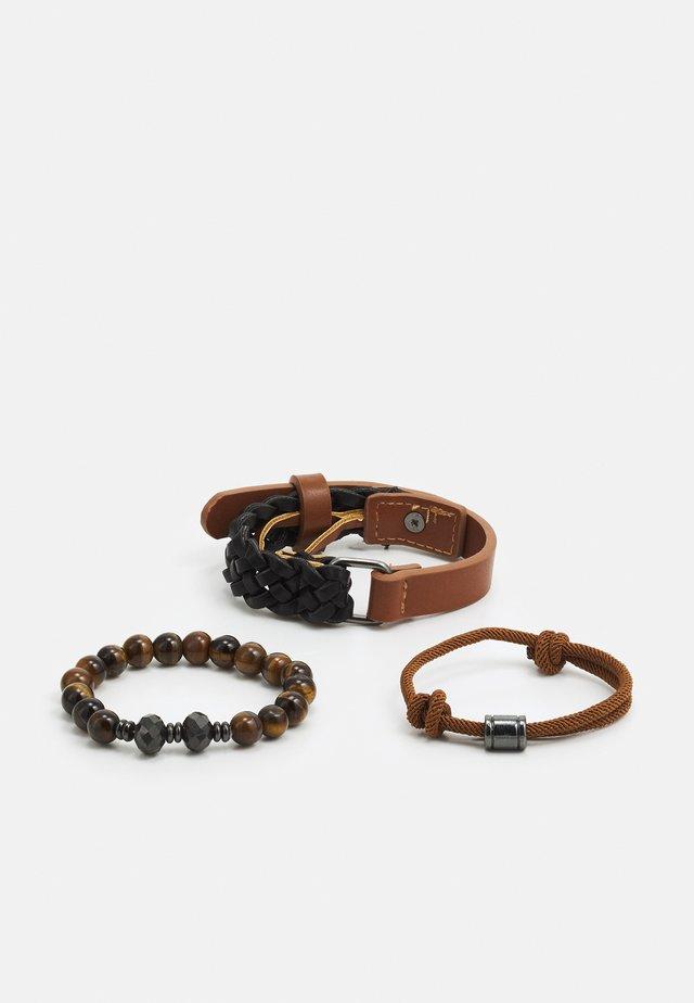 RIEVEN SET - Náramek - brown/black/gunmetal combo