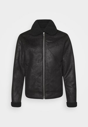 JJFLIGHT JACKET - Imitatieleren jas - black