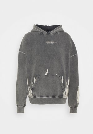BOXY DISTRESSED FLAME GRAPHIC HOOD - Sweater - acid wash
