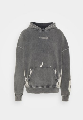 BOXY DISTRESSED FLAME GRAPHIC HOOD - Sweatshirt - acid wash