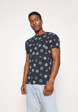 PORTAL - Print T-shirt - navy/ecru