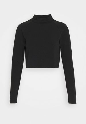 ONLBELLA CROPPED TOP PETTI - Long sleeved top - black